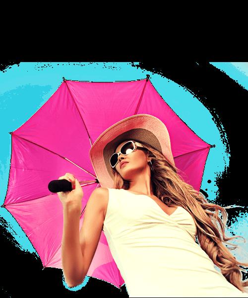 ragazza con ombrello rosa pink
