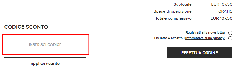 c86891bff7a0 Incolla il codice nella sezione Codice sconto e clicca su Applica codice  sconto. L importo totale viene immediatamente ricalcolato applicando la  riduzione.